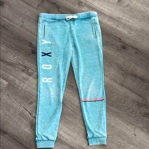 Teal Roxy Logo jogger sweats w striped band leg